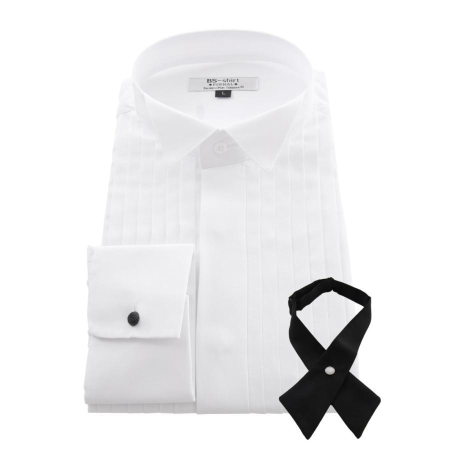 ワイシャツ ウィングカラー メンズ クロスタイ付 フォーマル 長袖 結婚式 パーティ 形態安定 スリム|0306|16
