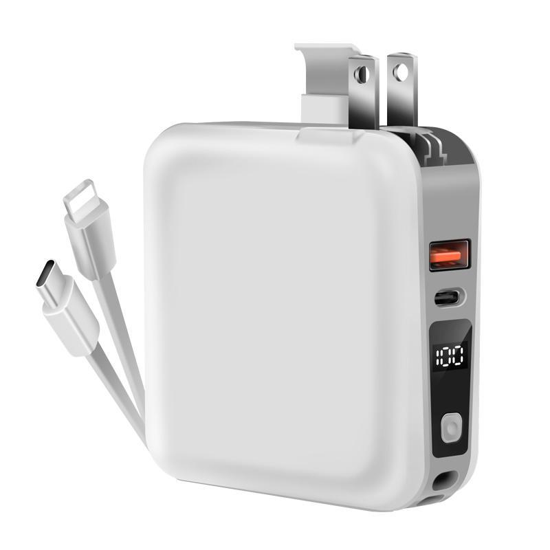 モバイルバッテリー PD対応 15000mAh 18W 大容量 折畳みプラグ PD3.0 急速充電USB-c&Lightningケーブル内蔵コンセントLCD残量表示 1097212fah03 12