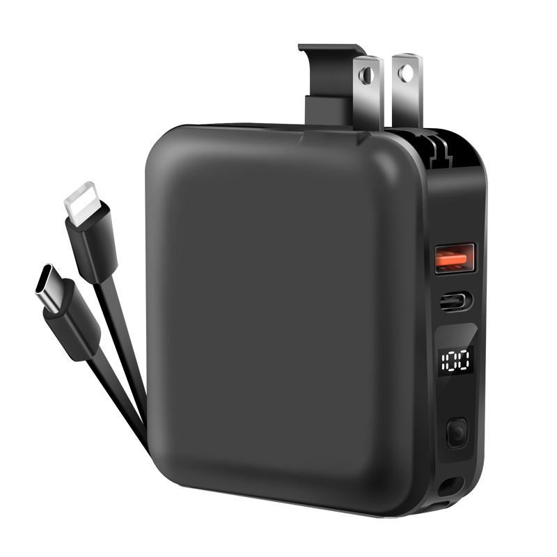 モバイルバッテリー PD対応 15000mAh 18W 大容量 折畳みプラグ PD3.0 急速充電USB-c&Lightningケーブル内蔵コンセントLCD残量表示 1097212fah03 11