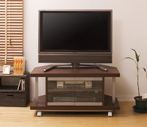 コーナーテレビボード 幅90cm 正面の設置イメージ