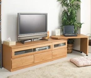 回転盤付き天然木テレビボード 幅150.5cm