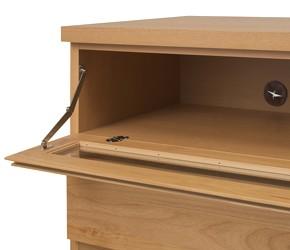回転盤付き天然木テレビボード フラップ扉でほこりをガード