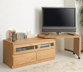 回転盤付き天然木テレビボード 幅101cm ナチュラル