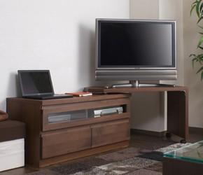 回転盤付き天然木テレビボード 幅101cm ダークブラウン