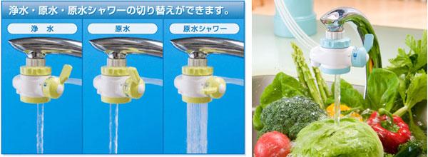 浄水、原水、原水シャワー