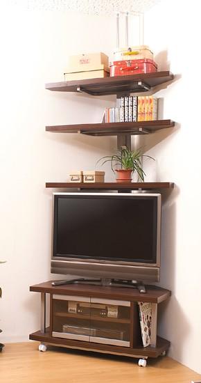 コーナーテレビボード 幅90cm+つっぱり式コーナーラック 3段