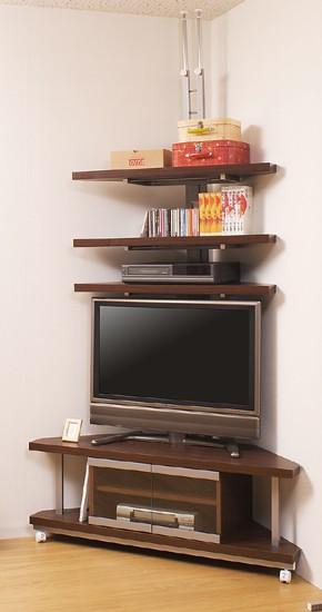 コーナーテレビボード 幅120cm+つっぱり式コーナーラック 3段