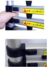 伸縮はしごアルミ製 9段 最長2.6m ASH-260。収納時、ステップ同士に指挟み防止として、約2cmの隙間があり安心して使えます。