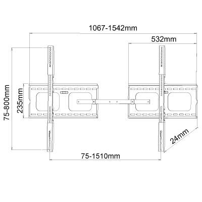 大型テレビ壁掛け金具 PLB-105-XLB 角度固定式。汎用 薄型・液晶・プラズマテレビ対応55〜100インチ対応 ブラック(黒)