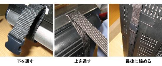液晶テレビ保護パネル付属品の固定用ベルトによる取り付け方。