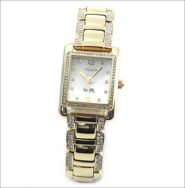 コーチ  煌びやかなゴールドカラーブレスレットにラインストーンの輝き。ラグジュアリーなレディス腕時計。 14502016