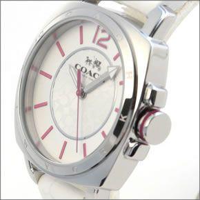 コーチ  シグネチャーダイヤルにピンクカラーの差し色がキュート。ふんわりラバーストラップのレディス腕時計 14502131