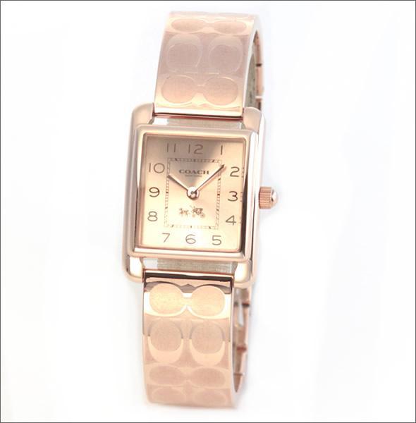 コーチ  人気のシグネチャーパターンのブレスレット☆オール・ピンクゴールドカラーのキレカワ・レディス腕時計 14502161