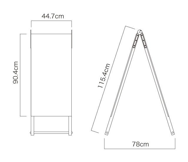 木枠A型スタンド看板(S)寸法