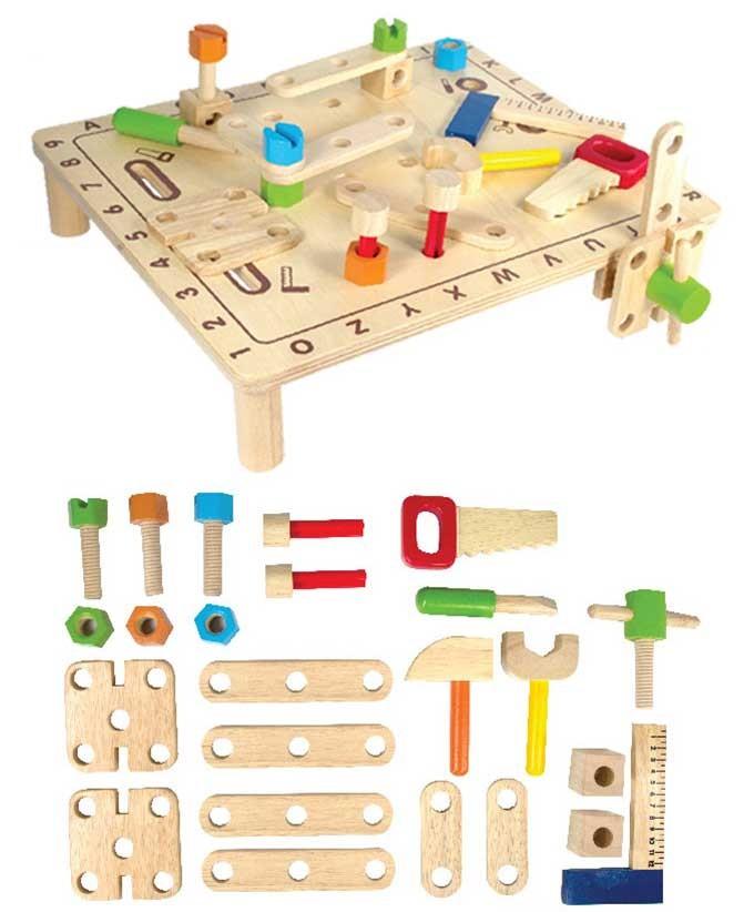 エデュテ 木製玩具 知育玩具 おもちゃ 大工遊び ABCカーペンターテーブル