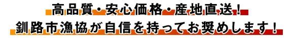 高品質・安心価格・産地直送!釧路市漁協が自信を持ってお奨めします!