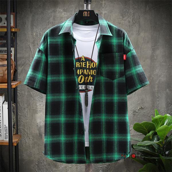 チェックシャツ メンズ トップス 半袖シャツ ネルシャツ カジュアルシャツ 薄手シャツ 半袖 ルームウェア お兄系 ゆったり 2019夏 セール|99mate|18