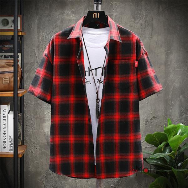 チェックシャツ メンズ トップス 半袖シャツ ネルシャツ カジュアルシャツ 薄手シャツ 半袖 ルームウェア お兄系 ゆったり 2019夏 セール|99mate|19