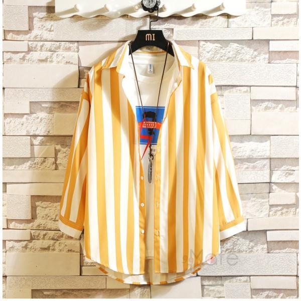開襟シャツ メンズ シャツ 七分袖 カジュアルシャツ ストライプシャツ ルームウェア 紳士服 トップス 夏 父の日 99mate 12
