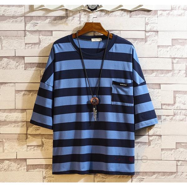 ティーシャツ メンズ Tシャツ 大きいサイズ カジュアル おしゃれ ボーダー柄 半袖Tシャツ お兄系 カットソー ゆったり 夏 送料無料|99mate|19