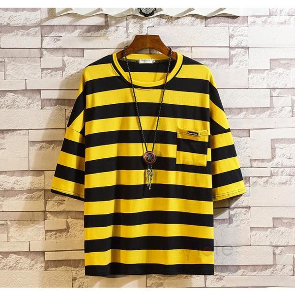 ティーシャツ メンズ Tシャツ 大きいサイズ カジュアル おしゃれ ボーダー柄 半袖Tシャツ お兄系 カットソー ゆったり 夏 送料無料|99mate|17