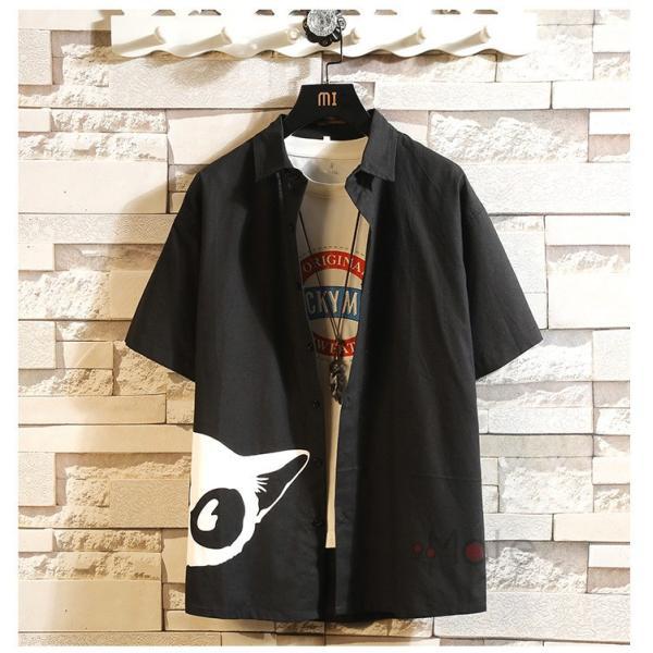 開襟シャツ メンズ 半袖シャツ 七分袖 夏物 おしゃれ トップス カジュアルシャツ 白シャツ ビジネス 通学 お兄系|99mate|23