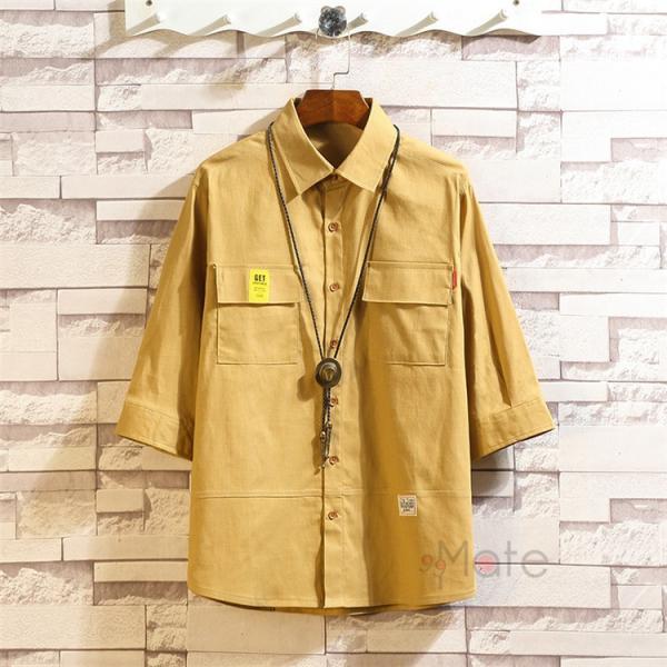 ワークシャツ 半袖シャツ メンズ 五分袖シャツ カジュアルシャツ ミリタリーシャツ アウトドア 夏 新作 99mate 17