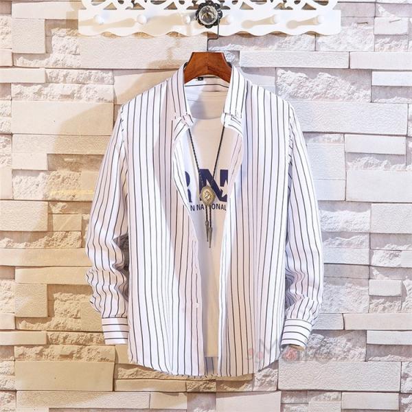 ストライプシャツ メンズ 長袖シャツ カジュアルシャツ ボタンダウンシャツ ビジネス 開襟シャツ 紳士服 おしゃれ|99mate|23