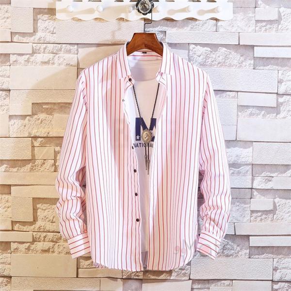 ストライプシャツ メンズ 長袖シャツ カジュアルシャツ ボタンダウンシャツ ビジネス 開襟シャツ 紳士服 おしゃれ|99mate|26