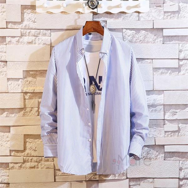 ストライプシャツ メンズ 長袖シャツ カジュアルシャツ ボタンダウンシャツ ビジネス 開襟シャツ 紳士服 おしゃれ|99mate|22