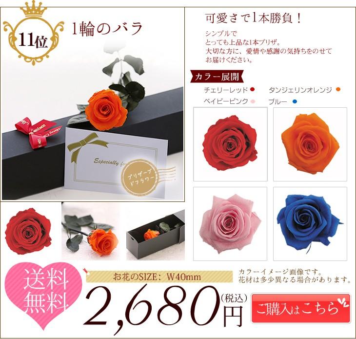 第11位 一輪のバラ 2,680円 送料無料