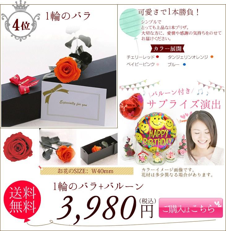 1輪のバラ+バルーン 3980円