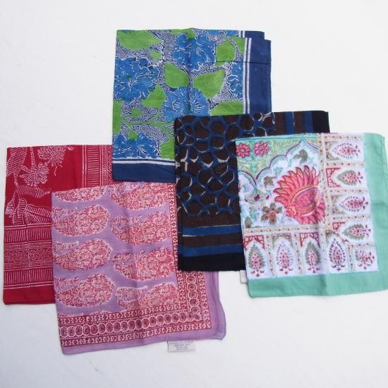 ANOKHI(アノキ) 木版染め ハンカチスカーフ全5種類