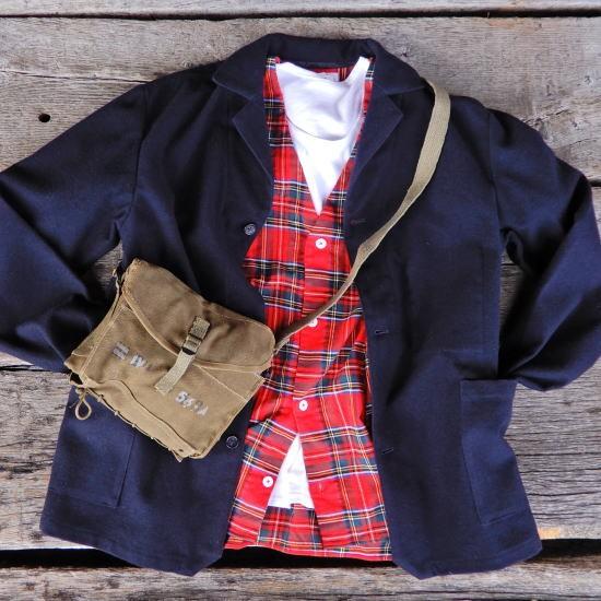 LOLO(ロロ) 起毛タータンチェック Bagポケット カーデシャツ