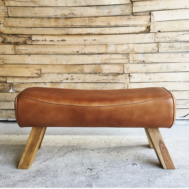 LEATHER WOODEN BENCH