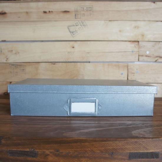 ブリキネームプレート付きレクタングル収納BOX S