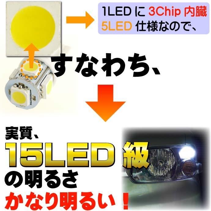 5連砲弾型★高輝度LEDバルブ白色 T10 3Chip 5SMD as02