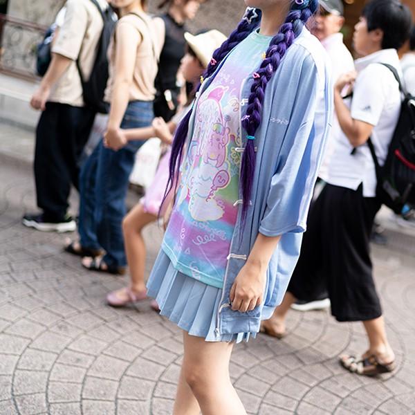 原宿系/ファッション/半袖/Tシャツ/カットソー/ゆめかわいい/ゆめかわ/イラスト/キュート/スイーツ/レインボー