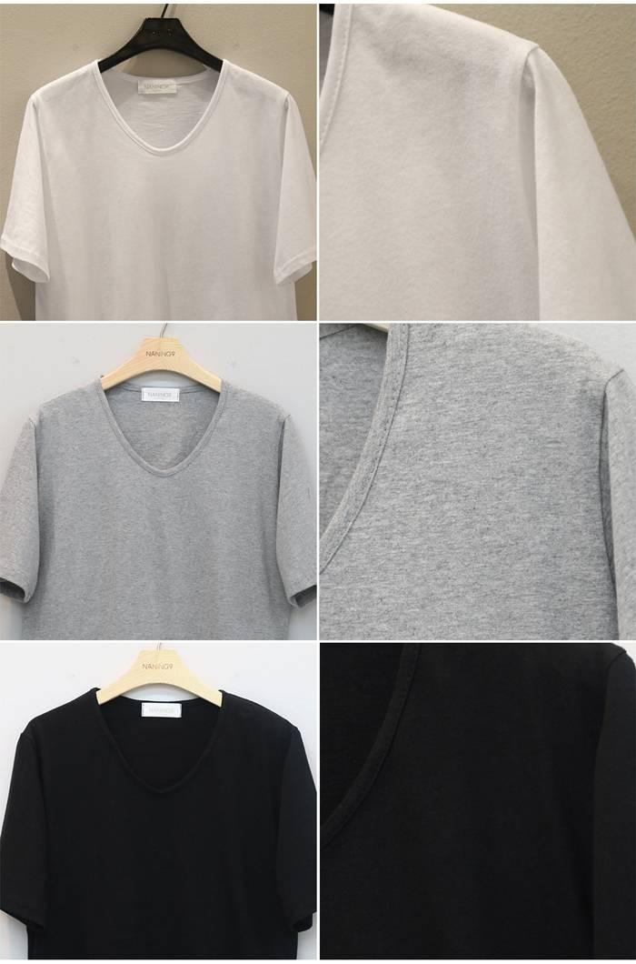 tシャツ 無地 白 Vネック/無地tシャツ 半袖/ベーシック シンプル tシャツ コットン 半袖/ゆるtシャツ レディース