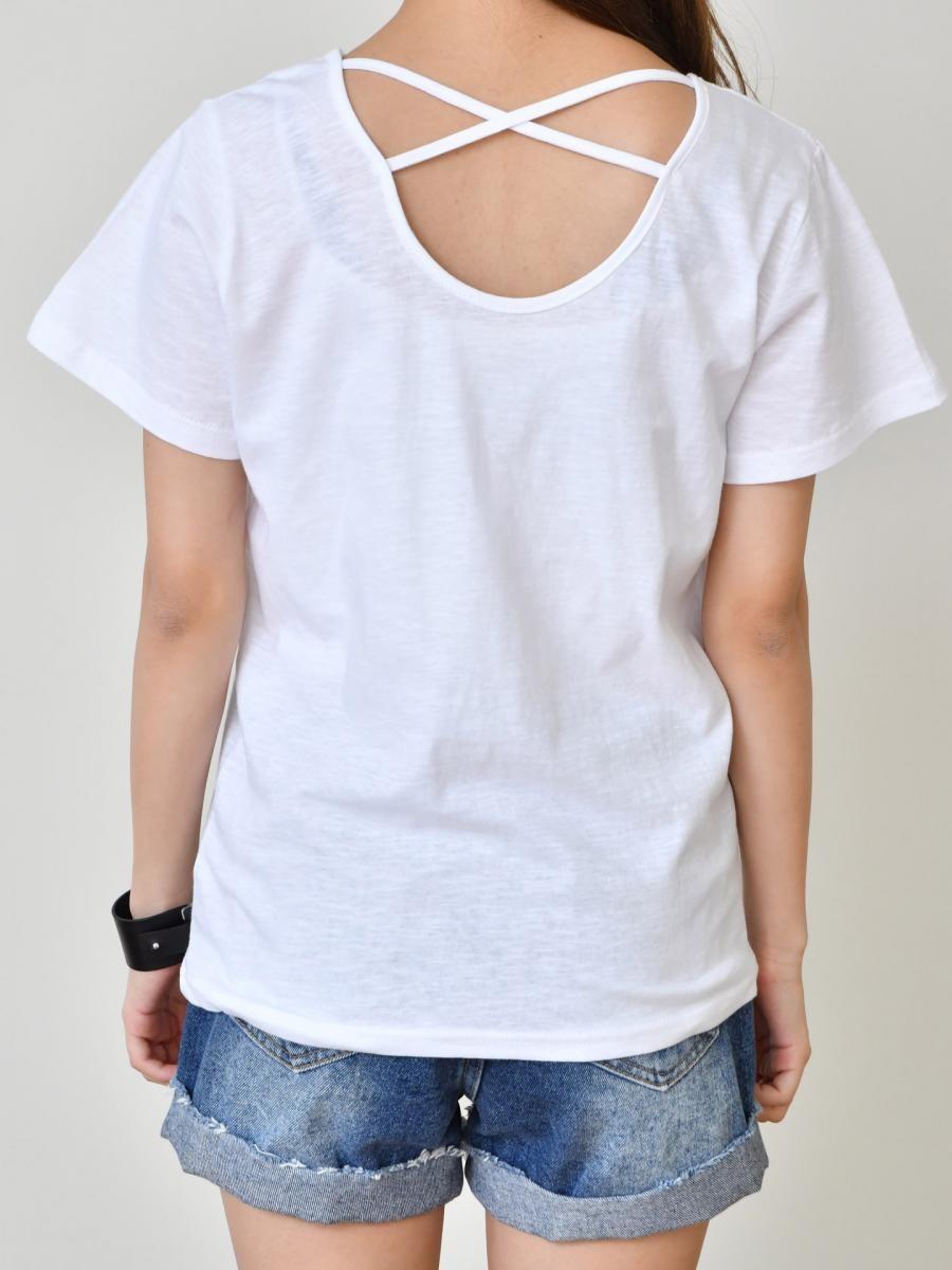 背中 開き tシャツ/バッククロス トップス カットソー 半袖/背中開き トップス 無地 コットン