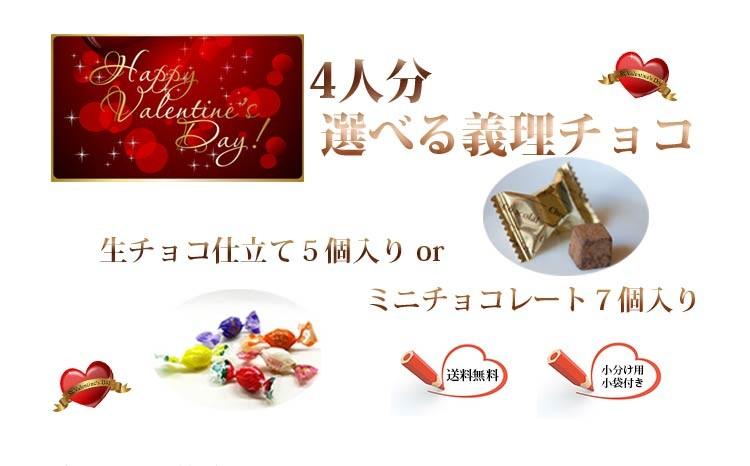 【4人分、選べる義理チョコ】生チョコ仕立て5個入りorミニチョコレート7個入り