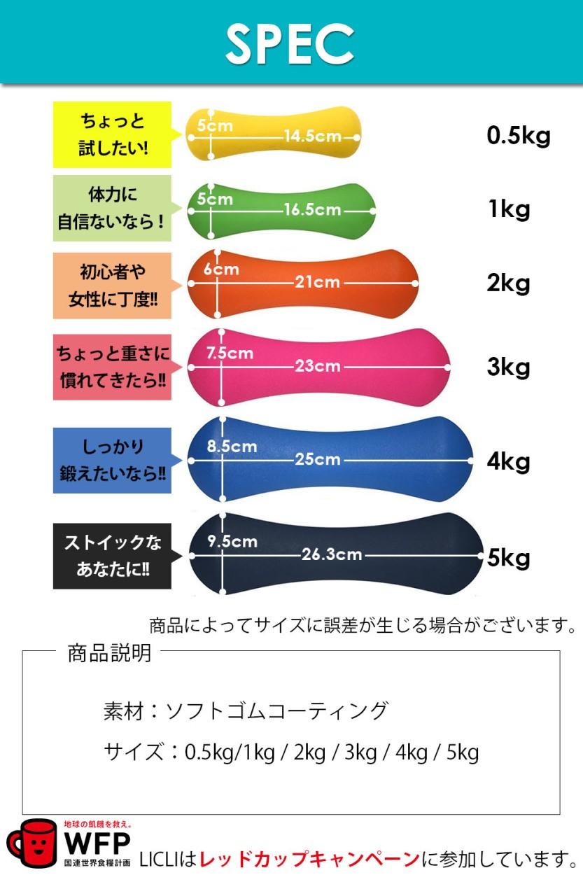 ダンベル 2個セット 1kg 2kg 3kg 4kg 5kg ソフトコーティングで握りやすい 筋トレ ダイエット 鉄アレイ ポップなデザインおしゃれ シェイプアップ 送料無料 LICLI