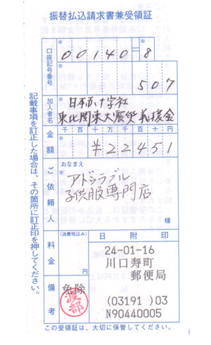 第二回アドゥラブル東日本大震災義援金のご報告