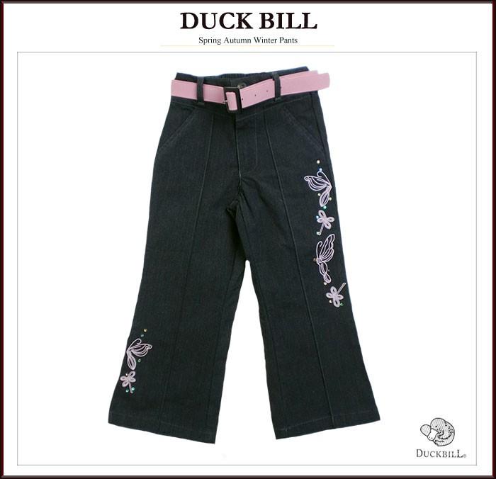 英国スタイル カラーベルト付き 蝶々とお花の刺しゅう入りパンツ ストレッチ性あるパンツは履き心地がよい