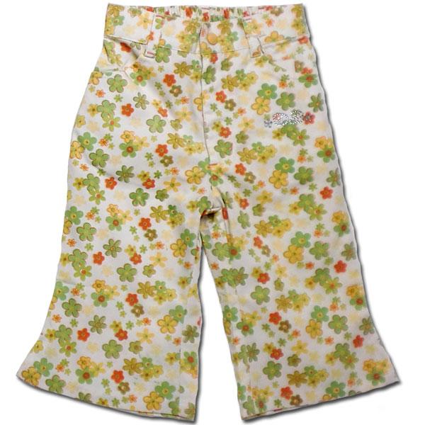 【子供服】太陽の下で ストレッチ生地のブーツカット花柄パンツ(濠Du)
