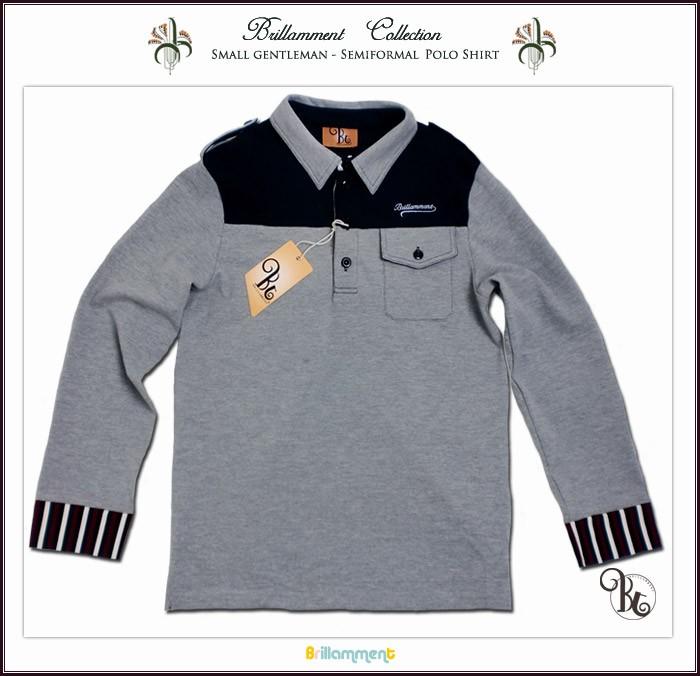 粋な配色シャツ襟は好印象を与え 英国小紳士 貴族紋章刺繍入り長袖ポロシャツ 120-170cm