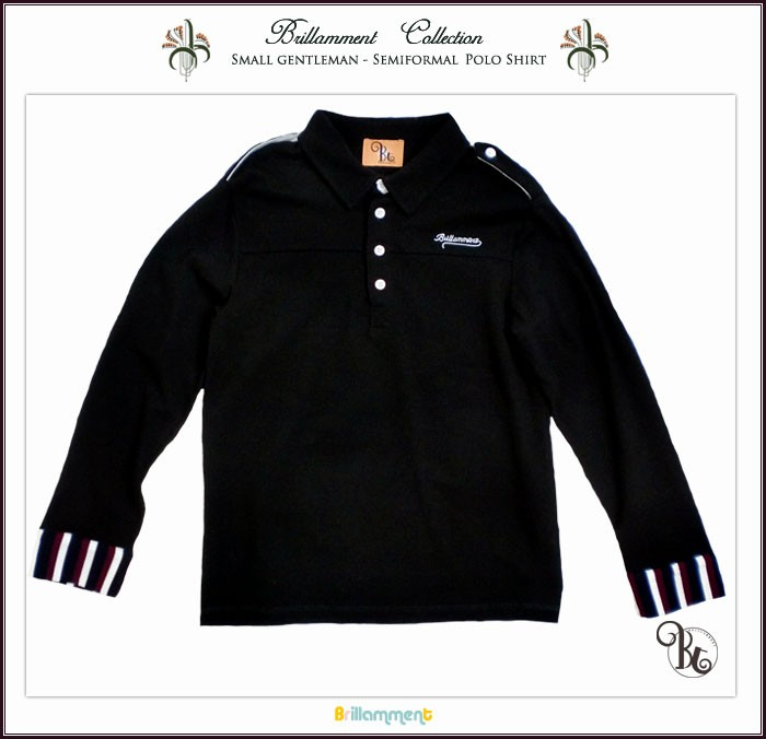 810f8b543cac7 【子供服】 男の子 王子様の普段着 貴族の紋章刺繍入り長袖ポロシャツ(JPBt) 150cm ブラック キッズ