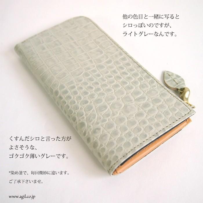 088ebba71138 mononogu (もののぐ) 長財布 L字ファスナー 牛革 クロコスタンプ 薄型スリム レディース