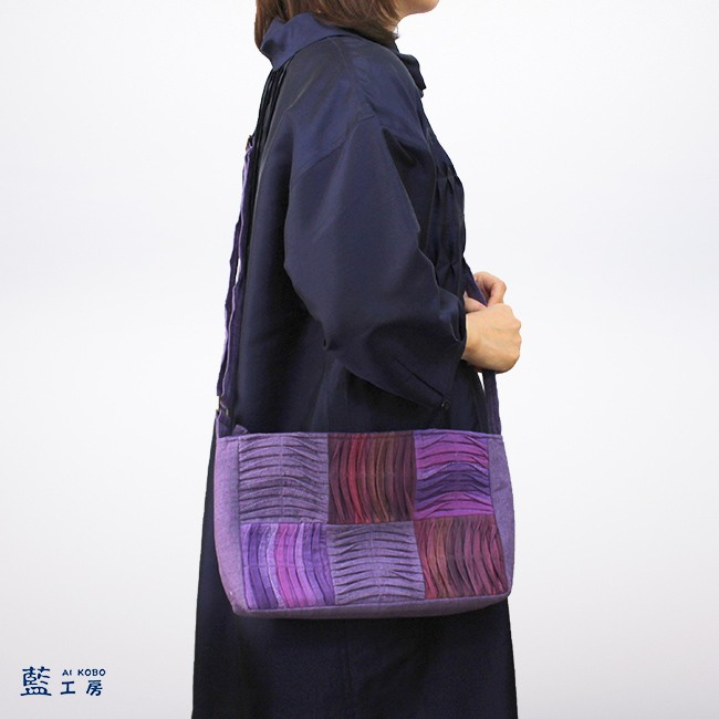 手織り手染め大人のワッフルポシェット