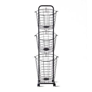 ランドリーバスケット おしゃれ スリム 3段 キャスター付き ワイヤーバスケット 大容量 ランドリー収納 ランドリーワゴン 洗濯カゴ 洗濯物入れ|air-r|20